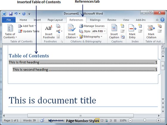 how to create a table of contents for a pdf